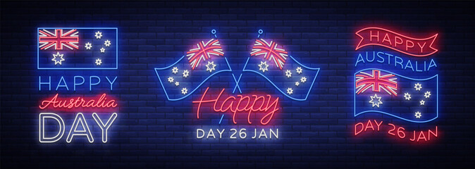 Happy Australia day set of neon signs. Collection of neon banners, colorful postcard, Night neon welcome card Happy Australia 26 January. Flyer, design template for your projects. Vector