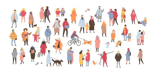Wall Mural - Crowd of people dressed in outerwear isolated on white background. Large group of men and women performing outdoor activities. Flat cartoon characters wearing winter clothing. Vector illustration
