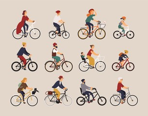 Collection of people riding bicycles of various types - city, bmx, hybrid, chopper, cruiser, single speed, fixed gear. Set of cartoon men, women and children on bikes. Colorful vector illustration.