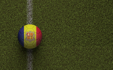 Andorra flag football on a green soccer pitch. 3D Rendering