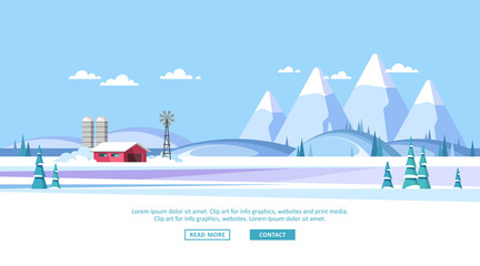 Winter rural landscape background. Vector illustration.