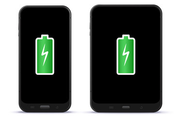 Mobile Phone and Tablet Computer With Full Battery Vector Illustration