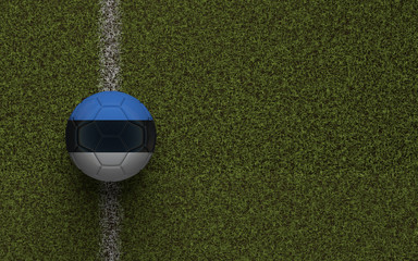Estonia flag football on a green soccer pitch. 3D Rendering