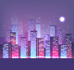 Night city skyline with neon lights. Modern city. Vector illustration.