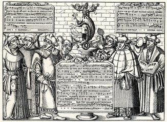 Mocking image about interims of Augsburg and Leipzig, 1648(from Spamers Illustrierte  Weltgeschichte, 1894, 5[1], 384)