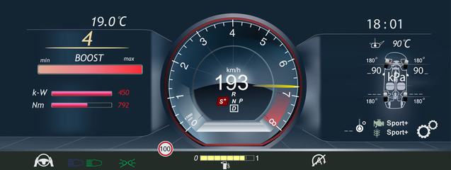Car dashboard ,Tachometer, new technology. Fantastic abstract background with different elements of the HUD