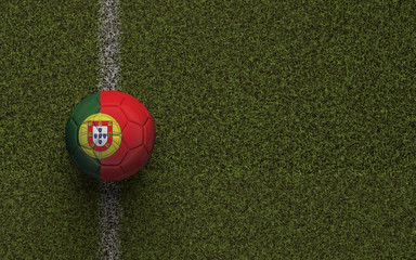 Portugal flag football on a green soccer pitch. 3D Rendering