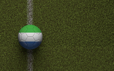 Sierra Leone flag football on a green soccer pitch. 3D Rendering
