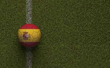 Spain flag football on a green soccer pitch. 3D Rendering