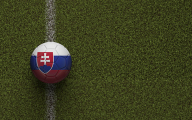 Slovakia flag football on a green soccer pitch. 3D Rendering