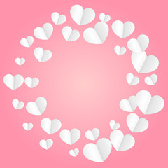 Hearts Confetti Falling Background. St. Valentine's Day pattern.
