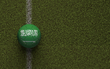 Saudi Arabia flag football on a green soccer pitch. 3D Rendering