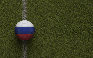 Russia flag football on a green soccer pitch. 3D Rendering