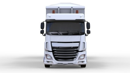 Large white truck with separate trailer, for transportation of agricultural and building bulk materials and products. 3d rendering.