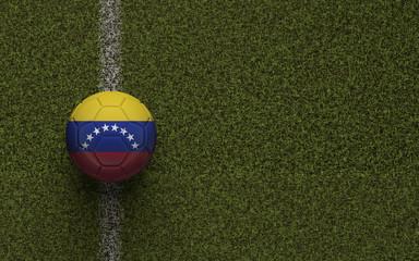 Venezuela flag football on a green soccer pitch. 3D Rendering