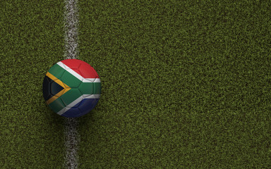South Africa flag football on a green soccer pitch. 3D Rendering