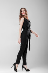 woman in black elegant overall