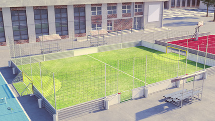 Soccer field with clean commercial boards