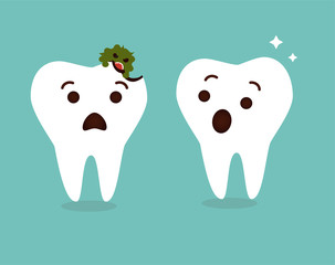 Tooth decay destroyed. Cute cartoon teeth characters vector. Dental care background. Healthy and unhealthy tooth.