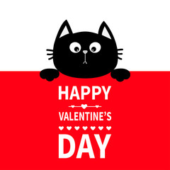 Black cat hanging on board signboard. Cute cartoon funny kitten kitty hiding behind paper. Happy Valentines Day. Calligraphy lettering text. Flat design. Typography print. Red background.
