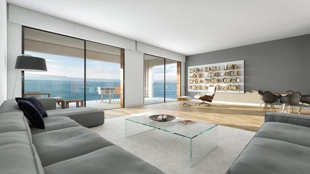 Salón moderno interior decoración con vista al mar