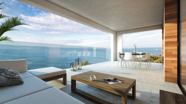 Sala de estar moderna interior decoración con vista