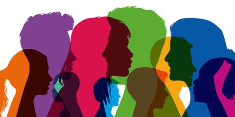profil - jeune - étudiant - portrait - silhouette - visage - tête - adolescent - fille - garçon - groupe Fototapete