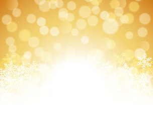 Gold bokeh abstract festive background. Golden christmas light shine bright holiday magic decoration