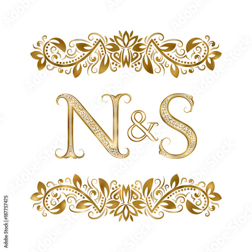 N And S Vintage Initials Logo Symbol The Letters Are Surrounded By