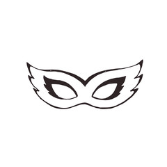 Hand drawn carnival vector mask in line art style isolated on white background. Masqeurade mask sketches for decorating festive invitations, banners, greeting cards.