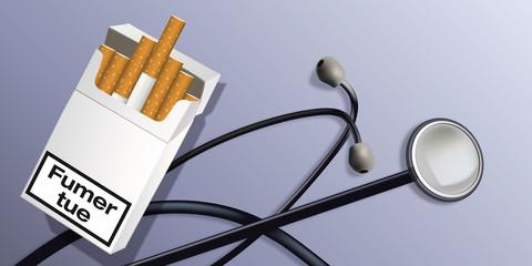 fumer - santé - cigarette - tabac - stéthoscope - médecin - dépendance - médecine - diagnostique