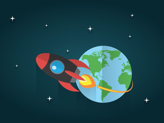 rocket launching from the earth