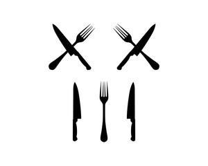 Black Fork and Knife Cross Illustration Silhouette Symbol Icon Logo Vector