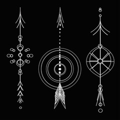 tatto whitev arrows vector on black background