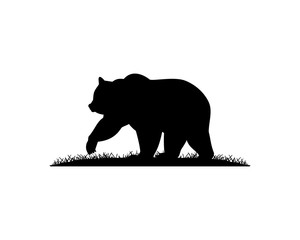 Black Bear with Grass Illustration Silhouette Logo Animal Vector
