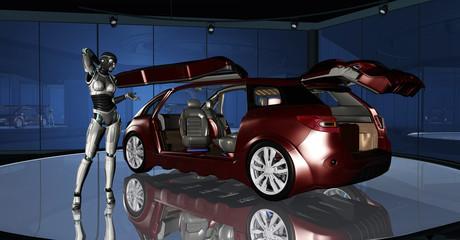 Ein weiblicher Roboter präsentiert einen autonom fahrenden PKW auf einer Bühne