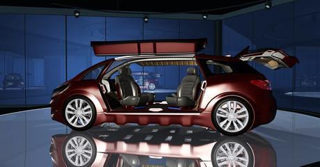 Präsntation eines autonom fahrenden PKW in einem futuristischen Showroom