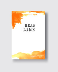 vector orange ink brush stroke