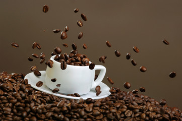 Coffee I love it! Little Espresso Cup with Beans And Splashes, studio Still Life