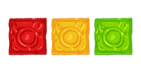 Vector Set of Three Color Condoms. Red, Yellow and Green Contraceptive in Package.