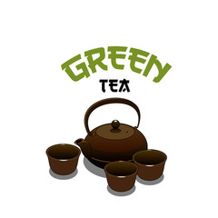 Vector green tea pot icon for Japanese cuisine