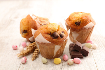 chocolate muffin and easter egg