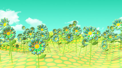 Psychedelic Flower Field on Polkadot Field