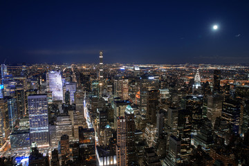 Fototapete - New York City skyline aerial panorama view at night with  Times Square and skyscrapers of midtown Manhattan.