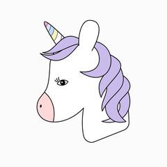 Cute fantasy head horse unicorn portrait. Design  for children.