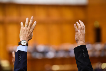 Hand raised in the air during a voting procedure