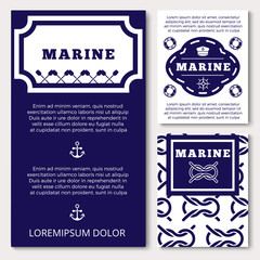 Marine banners or flyers design with sea elements