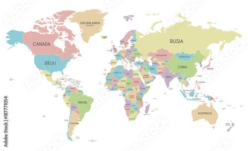 Political world map vector illustration isolated on white background political world map vector illustration isolated on white background with country names in spanish editable gumiabroncs Choice Image