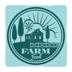 Grunge farm food label design