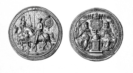 Seal and counter seal of Philip II of Spain and Mary I of England (from Spamers Illustrierte  Weltgeschichte, 1894, 5[1], 400)